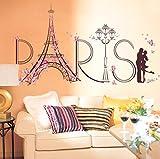 Homebaby Stickers Muraux--Paris Stickers Muraux Sticker Mural DIY Sticker Muraux Amovible Stickers muraux Tour Eiffel Chambre Décor Autocollant Mural DéCoration pour Enfant Fille Garcon