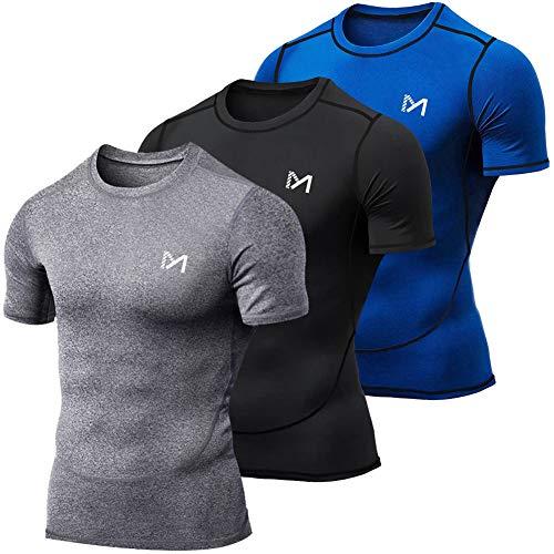 MEETYOO Kompressionsshirt Herren, Laufshirt Kurzarm Funktionsshirt Atmungsaktiv Sportshirt Männer T-Shirt für Running Jogging Fitness Gym (Blau + Grau + Schwarz, M)