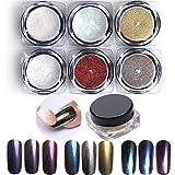 Pure Vie® 6 caja 1g Espejo Pigmento de uñas Glitter Nail Art Cromo en Polvo UV Gel Polaco Constructor Arte de Uñas Clavo de Manicura Decoración Kit Set #2