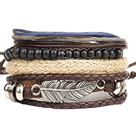 Hosaire Mode Herren Leder Armbänder Mehrfache Kombinationen Armreifen Schmuck Armband Men's Geschenk Zubehör Leather…