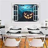 Qtydmdh Lanterna Di Zucca Di Halloween Pipistrello Volante Adesivo Murale Pvc 3D Finestra Vivida Adesivo Murale Art Poster Decorazione Della Casa Stregata
