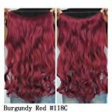 Secret Halo Hair Extensions Flip in Curly Wavy Hair Extension Synthetic Women Hairpieces 20 (Burgundy Red #118C) by SY