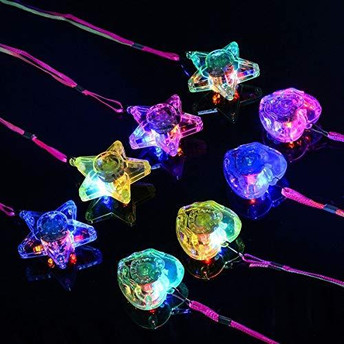 Tinksky Lichter-Halsketten, 8 Stück, mit buntem LED-Licht, Kunststoff, 4 in Stern- und 4 in Herz-From
