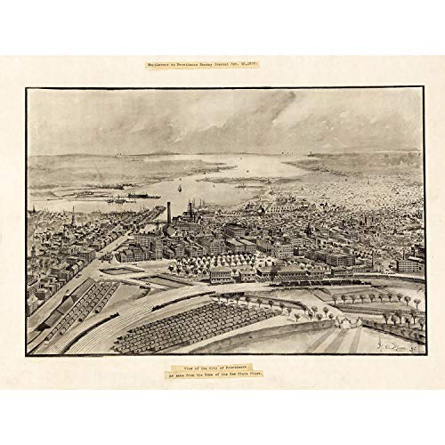 MAP PROVIDENCE 1896 VINTAGE 12 X 16 INCH ART PRINT POSTER PICTURE HP2214 - 1896 Vintage-print