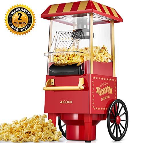 Aicook Machine à Pop Corn, 1200W Retro Machine à Popcorn avec Air Chaud, Sans Gras Huile, Facile á L'utilisation, Rouge