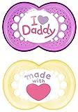 MAM Babyartikel 67637600 Original Silikon I love Daddy, girl, 6 -16 Monate, Doppelpack (gemischt )