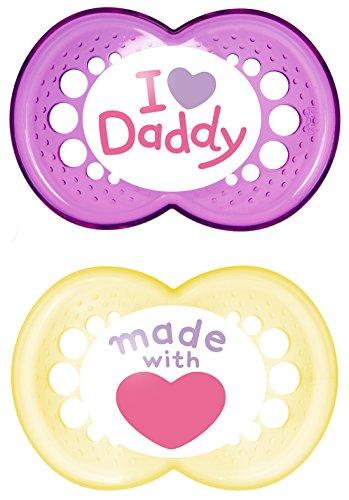MAM Babyartikel 67637600 Original Silikon I love Daddy, girl, 6 -16 Monate, Doppelpack