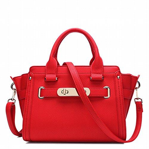 Weibliche Tasche Lychee Muster Rindsleder Platin Tasche Kuriertasche Rot