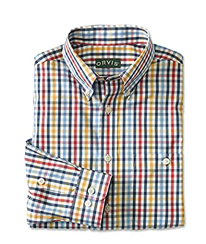 Orvis Pure Cotton Wrinkle-free Pinpoint Oxford Shirt, Navy Multi,