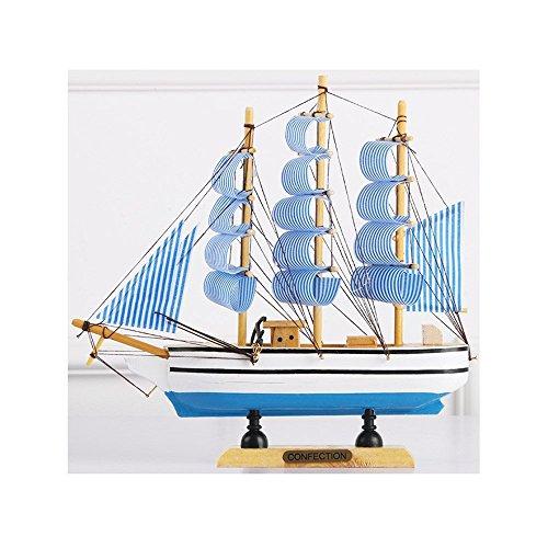 BDASDF massivholz Segel Segel - Modell im mediterranen Stil Wohnzimmer Kreativ Hand Requisiten holzboot Ornamente Ornamente,Blau, Blau - Striped hölzerne Yacht Segeln 23cm X 5,5 cm × 24cm