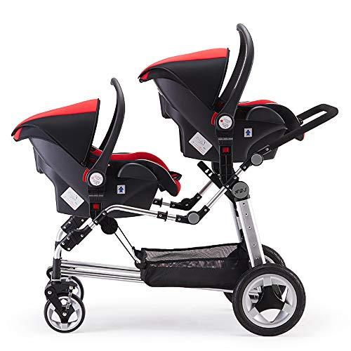 Baby Twin Stroller,Babyfond Folding Tandem Pushchair High Landscape Ultra Light Portable Can Sit Reclining Shock Absorber Bassinet twins Pram for Newborn (Red-Safety Basket Style)