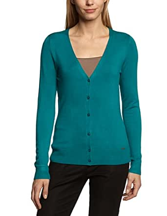 More & More Damen Strickjacke 31111579, Einfarbig, Gr. 36, Grün (637 green jewel)