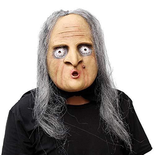 MIANJUTIA Alte Hexe Halloween Maske mit Haar Neuheit -