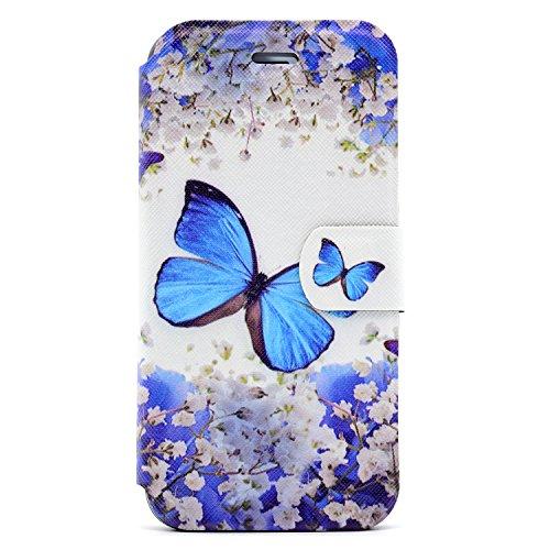 iPhone 7 Coque, Voguecase Étui en cuir synthétique chic avec fonction support pratique pour Apple iPhone 7 4.7 (Loup de neige)de Gratuit stylet l'écran aléatoire universelle Petite orchidée 02