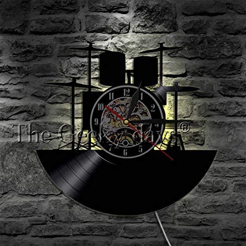 TYFEI Schlagzeuger Drum Set Wandkunst Wanduhr Rock Vinyl Schallplatte Wanduhr Rock Pop Band Instrument Uhr Musik Raumdekoration
