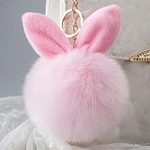 Fami Donne Pelliccia del coniglio sfera Portachiavi Bag Plush Car Key pendente dell'anello chiave auto PK
