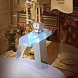 Baño Cocina grifo LED cambian de color de cristal grifo cascada Gap Cuenca Cuenca cromo grifo grifo,grifo con manguera