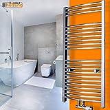 Badheizkörper gebogen chrom 1500x600 Handtuchtrockner Heizkörper Handtuchwärmer mit Anschlussarmatur