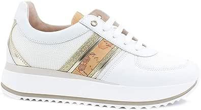 Alviero Martini 1a classe Sneaker Running Platform Bande Leo Lux White Beige 0931-0030
