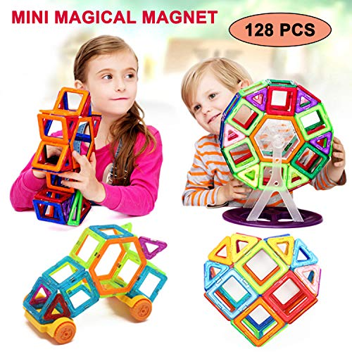 Mini Magical Magnet, Bloques de construcción magnéticos 3D, 128 piezas, juguetes de imán para niños, juguetes educativos para niños, azulejos de construcción, juegos de construcción creativa para niños y niñas