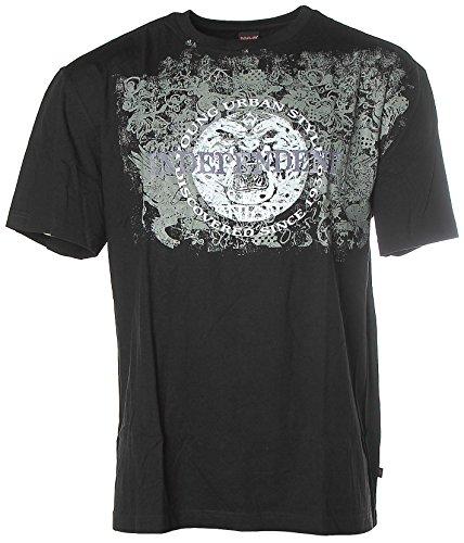 HIS Herren Kurzarm Shirt T-Shirt Rundhals Independent Schwarz