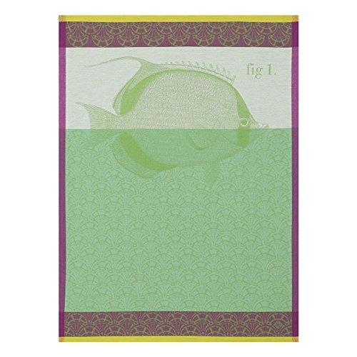 Le Jacquard Français Torchon Tahiti, Coton Peigné, Algue, 80x60x0,1 cm