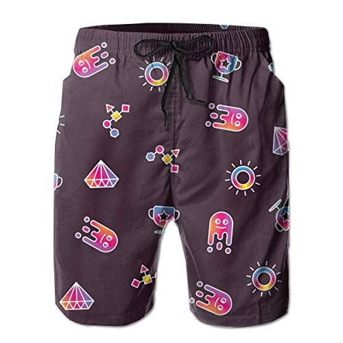 Crystal Flare Jeans (DPASIi Men's Swim Trunks Colorful Crystal Cup Sun and Abstract Geometric Surfing Beach Board Shorts Swimwear X-Large)