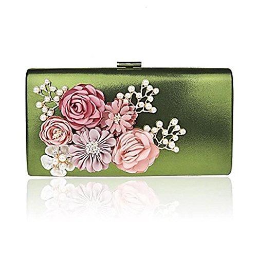 SUNNY KEY-Clutches@L.west Frau Südkoreas handgemachte Blumen weibliche Tasche Luxus-Bankett Abendessen Hand Tasche Tasche , green (Key West Grün)