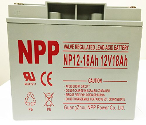 NPP 12V 18 Amp NP12 18Ah Rechargeable Lead Acid Battery With Button Style  Terminals