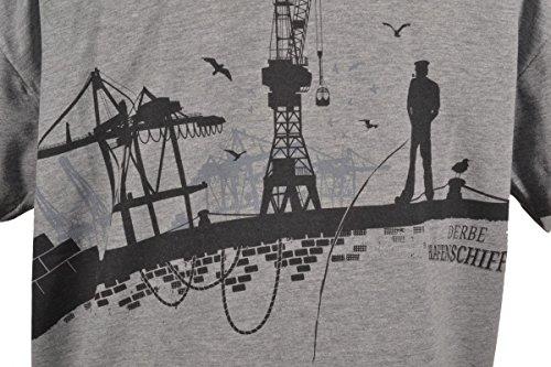 Derbe Herren T-Shirt Hafenschiffer17 Gey Melange Grau