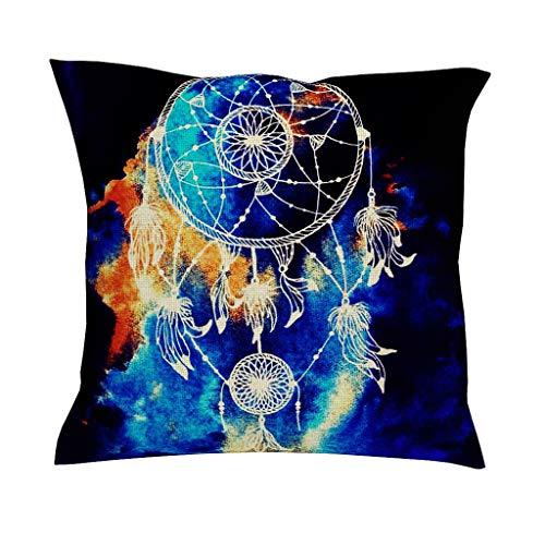 CCMugshop - Funda de cojín con diseño de Mandala Indio con atrapasueños, de algodón, de Lino, Decorativo, para el salón o como Regalo, Blanco, 45 x 45 cm
