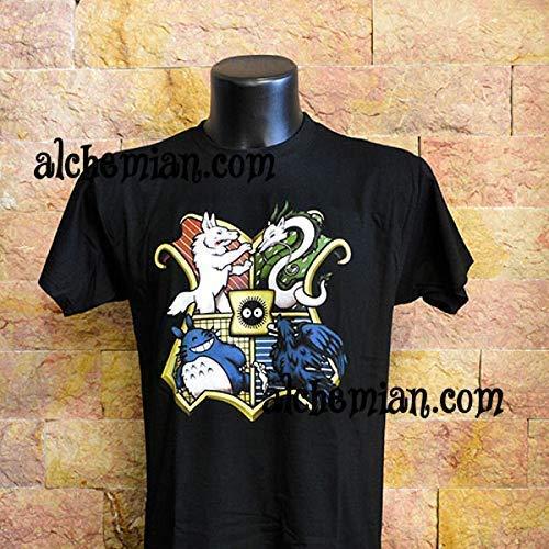 ae0caf8ce Miyazaki Creatures Hogwarts maglietta nera T-shirt Studio Ghibli