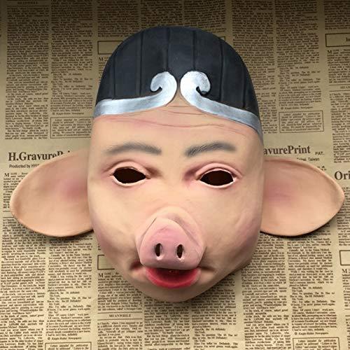 newolfend Halloween Terror Latex Maske Reise Zum West Schwein Acht Ring Maske Latex Tang Yi Master Sonne Wukong Schwein Kopf Set Party - Damen Ring Master Kostüm