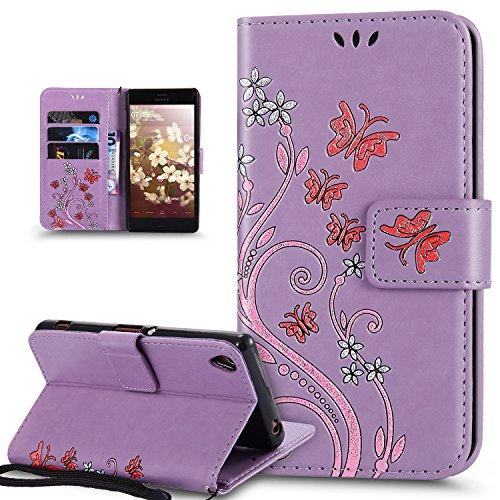 Coque Sony Xperia XA,Etui Sony Xperia XA,Peint coloré Embosser Papillon fleur Housse en Cuir PU Etui Housse Portefeuille de Protection Flip Case Portefeuille Etui Coque pour Sony Xperia XA,Violet