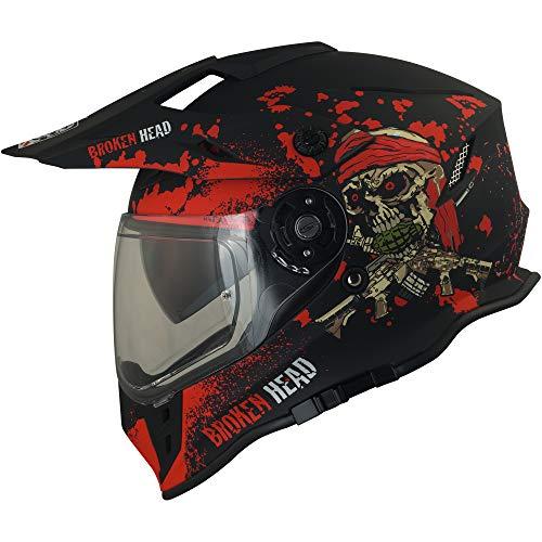 Broken Head Jack S. VX2 Rot | Enduro Cross Helm | Motorrad-Helm Mit Visier & Sonnenblende | Größe L (59-60 cm)