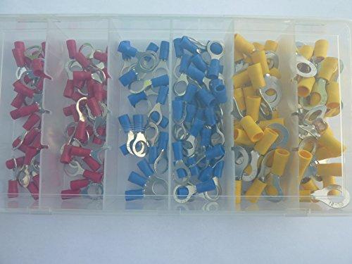 Preisvergleich Produktbild 150 Ring Kabelschuhe Ringoese M8 rot blau gelb für Kabel von 0, 5 mm² - 6 mm² SK-DV