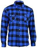Bikers Gear Australia Limited Motorrad Kevlar Aramid gefüttert Schutz Flanell Hemd, blau/schwarz, Größe L
