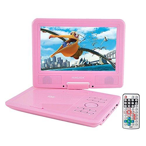 Lecteur DVD Portable, FENGJIDA 9 pouces DVD Lecteur Portable, lire directement les formats AVI, RMVB, MP3 et JPEG, Compatiblement avec SD/ USB (Rose)