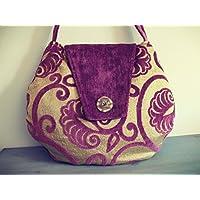 Borsa a spalla in velluto viola e damasco di velluto