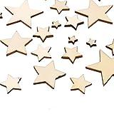 moinkerin 300 Stücke Stern Holz Scheiben (10mm+20mm+30mm+40mm), Blank Naturholzscheiben für DIY Basteln Kunsthandwerk, Weihnachten, Hochzeit, Geburtztag, Feiertag Dekoration (Holzfarbe Stern)