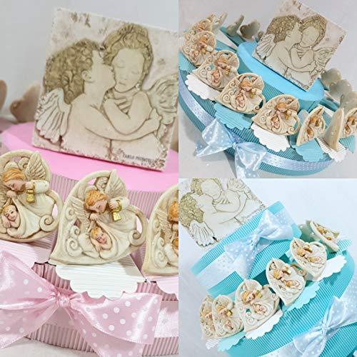 Torta bomboniera battesimo bimbo/a cuore angelo Gabriele con centrale Carlo Pignatelli (torta rosa 20 fette 1 piano)