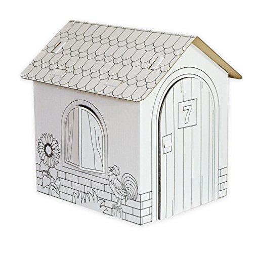 Celebration Spielhaus aus Karton Puppenhaus aus Pappe Bastelkarton zum Bemalen Landhaus 32,5 x 26,5 x 36,5 cm