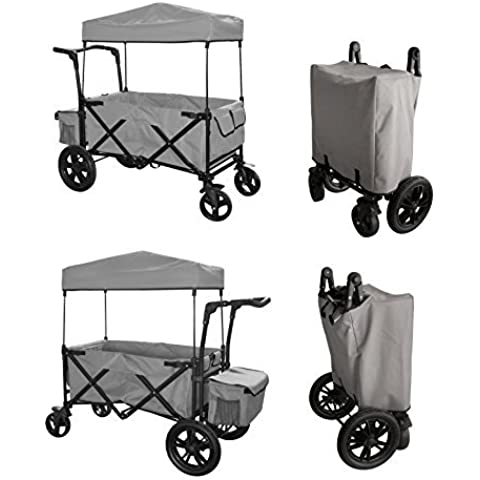 GREY PUSH HANDLE AND REAR FOOT BRAKE FOLDING STROLLER WAGON OUTDOOR SPORT COLLAPSIBLE BABY TROLLEY W/ CANOPY GRAY GARDEN UTILITY SHOPPING TRAVEL CART - EASY SETUP NO TOOL NECESSARY by WagonBuddy