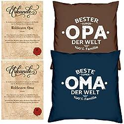 Geschenke Set Ostergeschenk Oma Opa 2 Sofa Kissen mit Füllung Oma der Welt Opa der Welt dazu 2 passende Urkunden