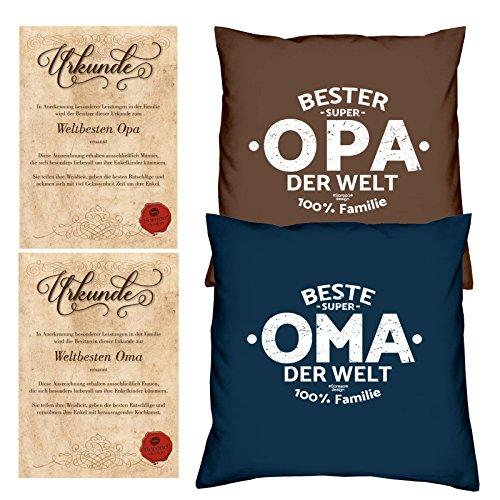 Geschenke Set Ostergeschenk Oma Opa 2 Sofa Kissen mit Füllung Beste Oma der Welt Bester Opa der Welt dazu 2 passende Urkunden