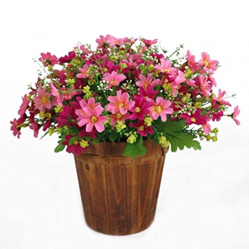 Sunlight House, 1 Blumenstrauß mit 28 Blütenköpfen, künstliche Gänseblümchen, für drinnen und draußen, zum Aufhängen, Dekoration für Zuhause / Hochzeit / Garten / Friedhof, Stoff, rose, M