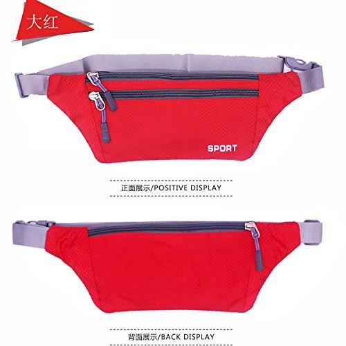 KANG@ Sport Taille Pack Multifunktions Running Männer und Frauen Outdoor Handy Tasche Anti-Diebstahl intime Stealth wasserdicht Beutel Rot