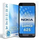 EAZY CASE 2X Panzerglas Displayschutz 9H Härte für Nokia Lumia 625, nur 0,3 mm dick I Schutzglas aus gehärteter 2,5D Panzerglasfolie, Displayschutzglas, Transparent/Kristallklar