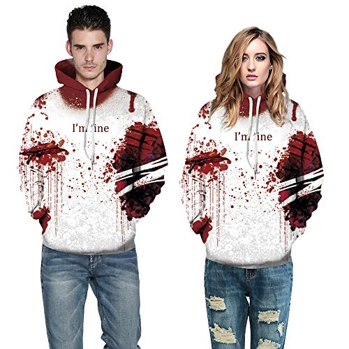 INLLADDY Hoodie Paare Männer und Frauen 3D Print Langarm Pullover Halloween Kostüm Phantasie Ball Party Cosplay Top Rot (Halloween Phantasie Kostüm)