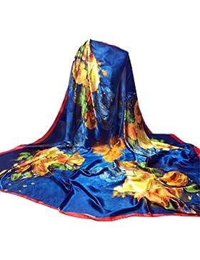 Siswong Pañuelos Satén Estampados Grandes Señora Colores Elegantes Bufandas Finas Estolas Estampados Fiesta Bodas...